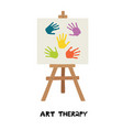 easel with canvas painted with children handprints vector image