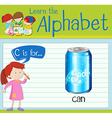 Flashcard letter C is for can vector image vector image