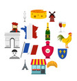 france travel set flat icons vector image