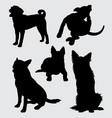 german shepherd and kind of dog silhouette vector image vector image
