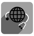 Global Medicine Flat Square Icon with Long Shadow vector image vector image