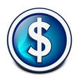 glossy dollar icon vector image vector image