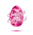 happy easter lettering on pink watercolor egg vector image