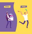 happy friday concept businessman in sad vector image vector image