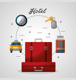 hotel red suitcases taxi building clock vector image vector image