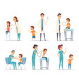 kids vaccinating doctor gives injection to vector image vector image