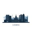 lansing skyline monochrome silhouette vector image vector image