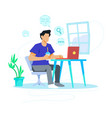 man searching in computer concept vector image vector image