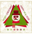 Merry Christmas background with snowman in hipster vector image vector image