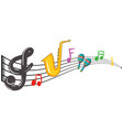 music notes and instrument background design vector image vector image