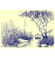 Nature sketch Boats on river fishermen at work vector image vector image
