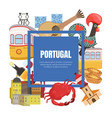 portugal banner template with portuguese landmarks vector image