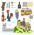 portugal culture symbol set europe travel lisbon vector image vector image