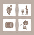 postage stamps with grape and wine icons vector image vector image