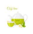 pot and cup of herbal tea vector image vector image