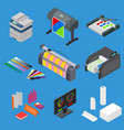 printing signs 3d icons set isometric view vector image