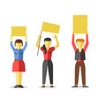 protesting people holding empty yellow banners vector image vector image
