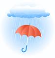 rain cloud with red umbrella vector image vector image