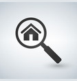 real estate symbol of a house under magnifying vector image