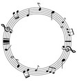 round frame template with music notes on scales vector image vector image