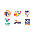 run club logo templates collection tournament vector image vector image