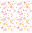 seamless pattern with birds and hearts vector image vector image