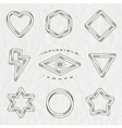 Set line art tattoo style impossible shapes