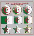 set of buttons with flag of algeria vector image