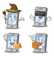 set of iphone character with virtual envelope box vector image vector image