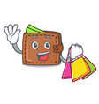 shopping wallet character cartoon style vector image