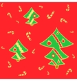 Smart spruces on red background vector image vector image