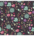 Spring floral pattern dark vector image vector image