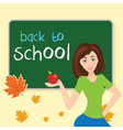 teacher in school classwith school board With text vector image vector image