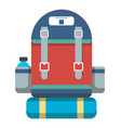 tourist retro backpack icon vector image
