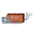 with laptop brick character cartoon style vector image