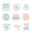 set of electric car labels vector image