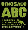 Dinosaur ABC Font of prehistoric reptile Green vector image