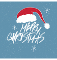 christmas santa hat and lettering vector image