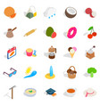 afternoon snack icons set isometric style