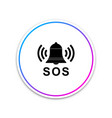 alarm bell and sos lettering icon isolated on vector image vector image