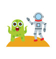 astronaut with alien comic character icon vector image