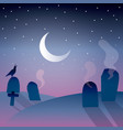 background of graveyard with moon vector image