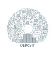 bank deposit outline concept vector image
