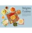 Belgian cuisine popular national dishes vector image vector image