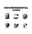 Black glossy environmental icon set vector image