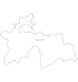 Black White Tajikistan Outline Map vector image vector image