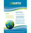blue and green document template with planet vector image