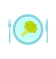 blue plate with piece broccoli flat icon vector image