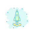 cartoon colored rocket icon in comic style space vector image