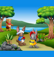 cartoon couple rabbits with mother bears in the pa vector image vector image
